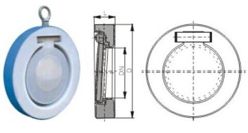 衬氟对夹式止回阀产品结构图